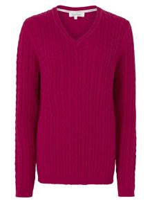 Tulchan Classic Cable V Neck Jumper