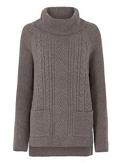 Rib And Cable Roll Neck Jumper