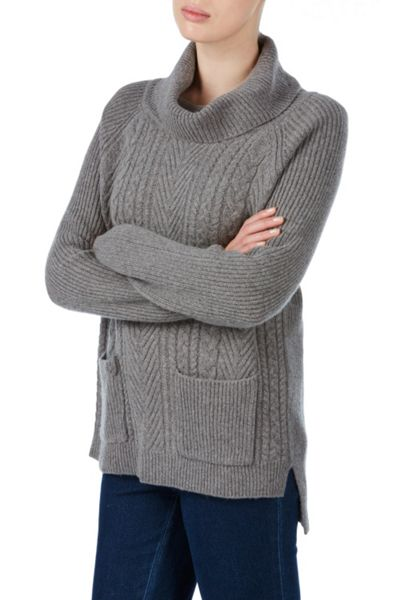 Tulchan Rib And Cable Roll Neck Jumper