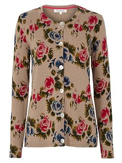 Retro Rose Print Cardigan