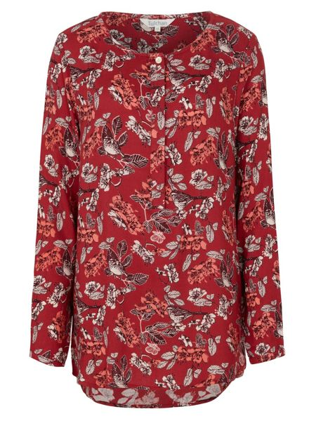 Tulchan L/S Collarless Print Shirt
