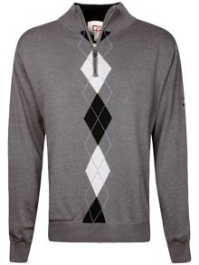 Lined argyle windproof sweater