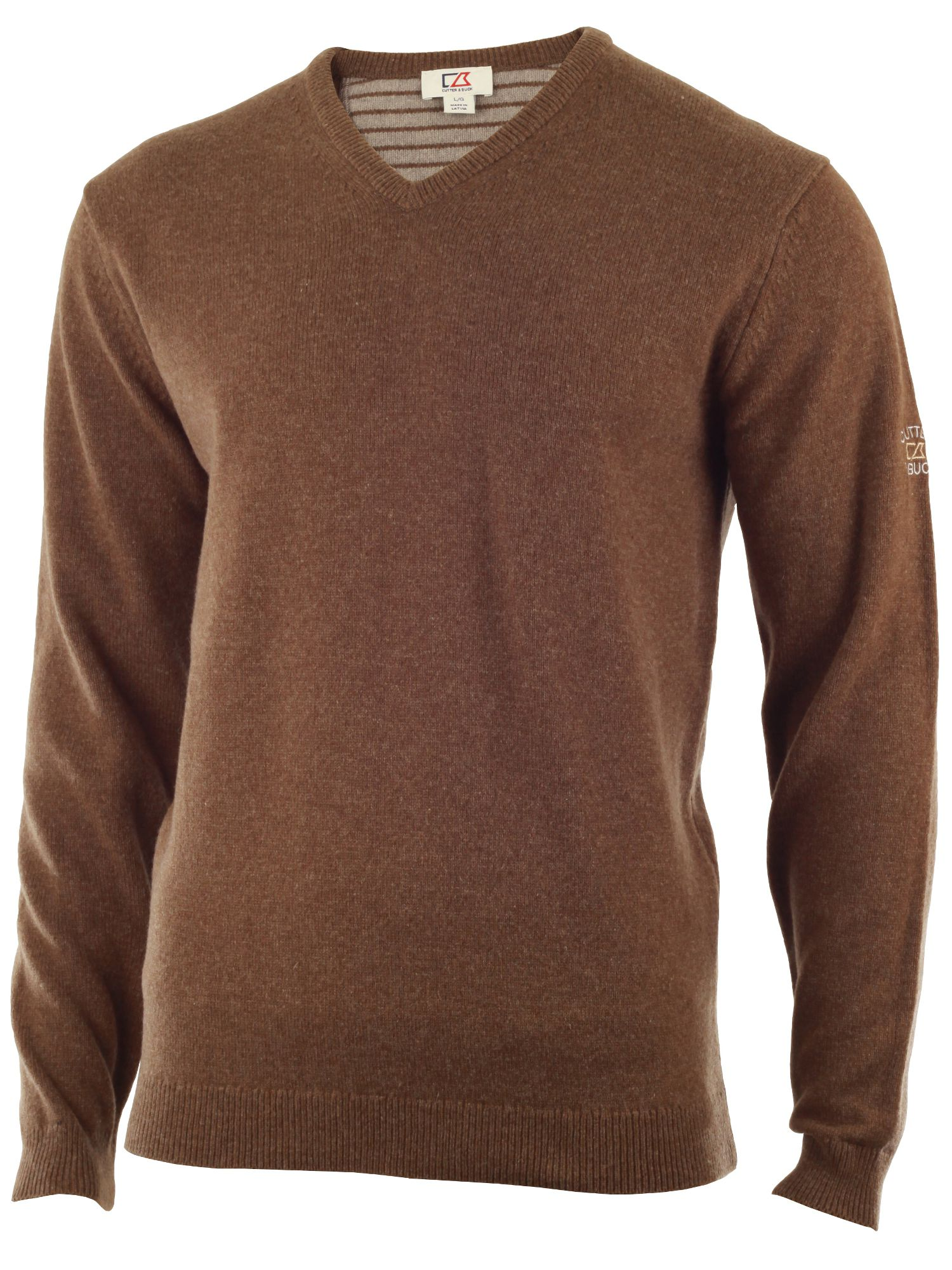 Cutter and Buck Men's Cutter and Buck Lambswool v neck sweater, Brown