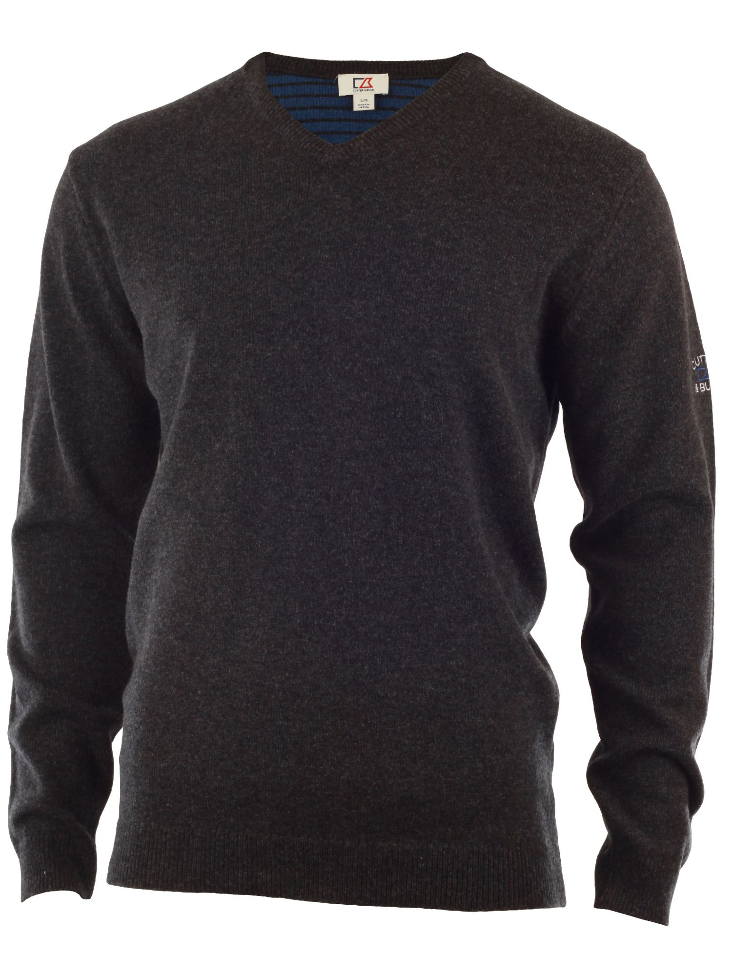 Cutter and Buck Men's Cutter and Buck Lambswool v neck sweater, Charcoal