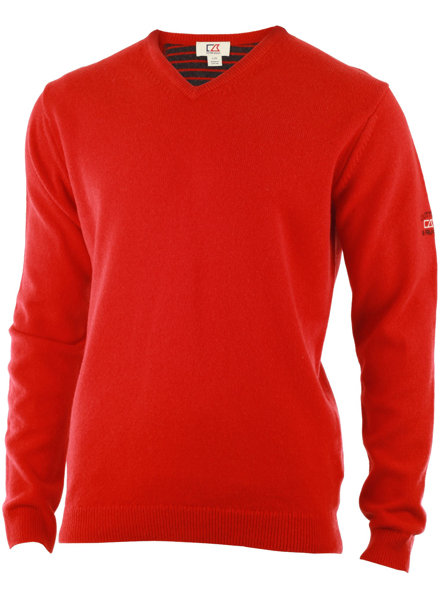 Men's Cutter and Buck Lambswool v neck sweater, Red