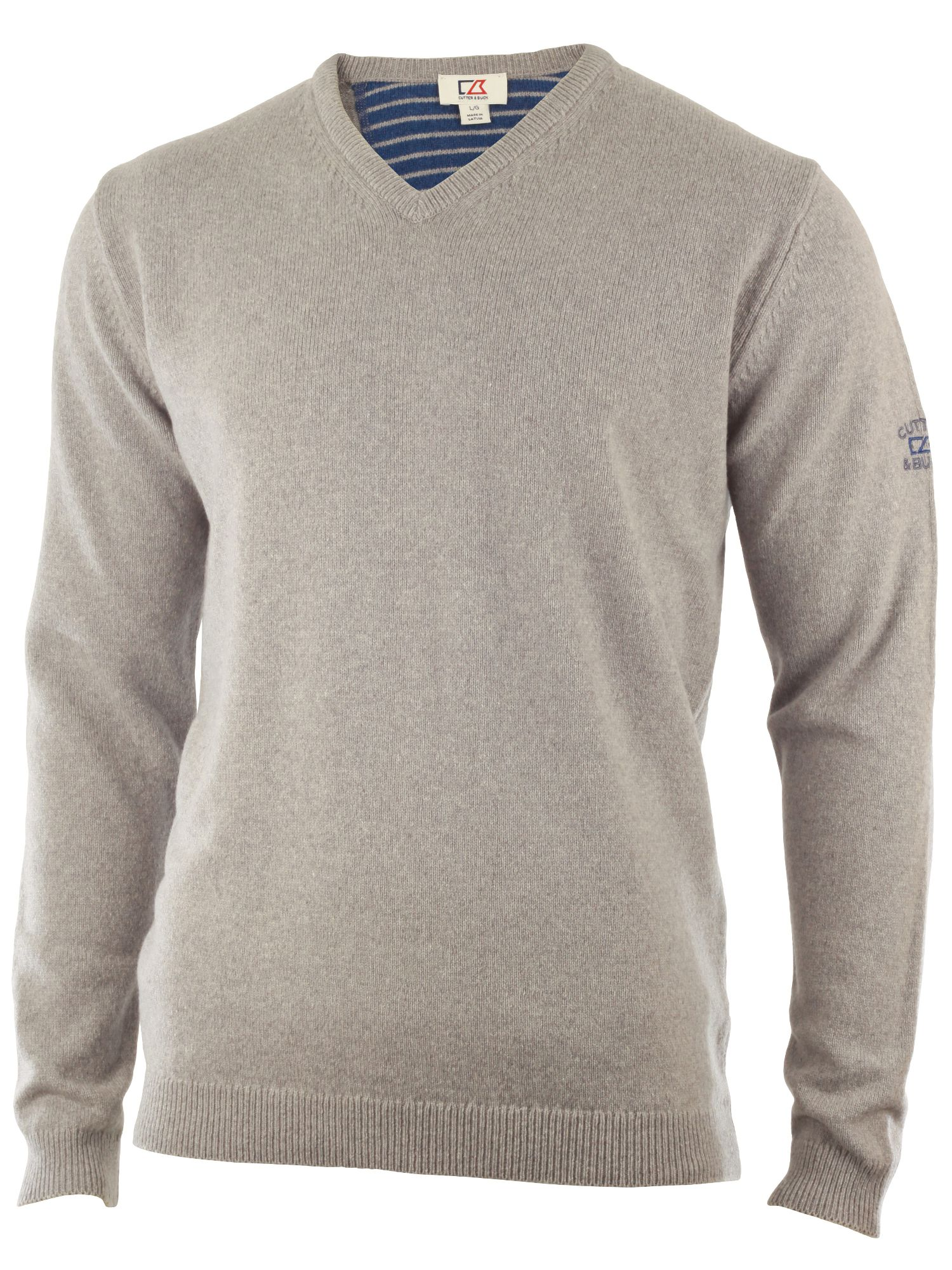 Cutter and Buck Men's Cutter and Buck Lambswool v neck sweater, Silver