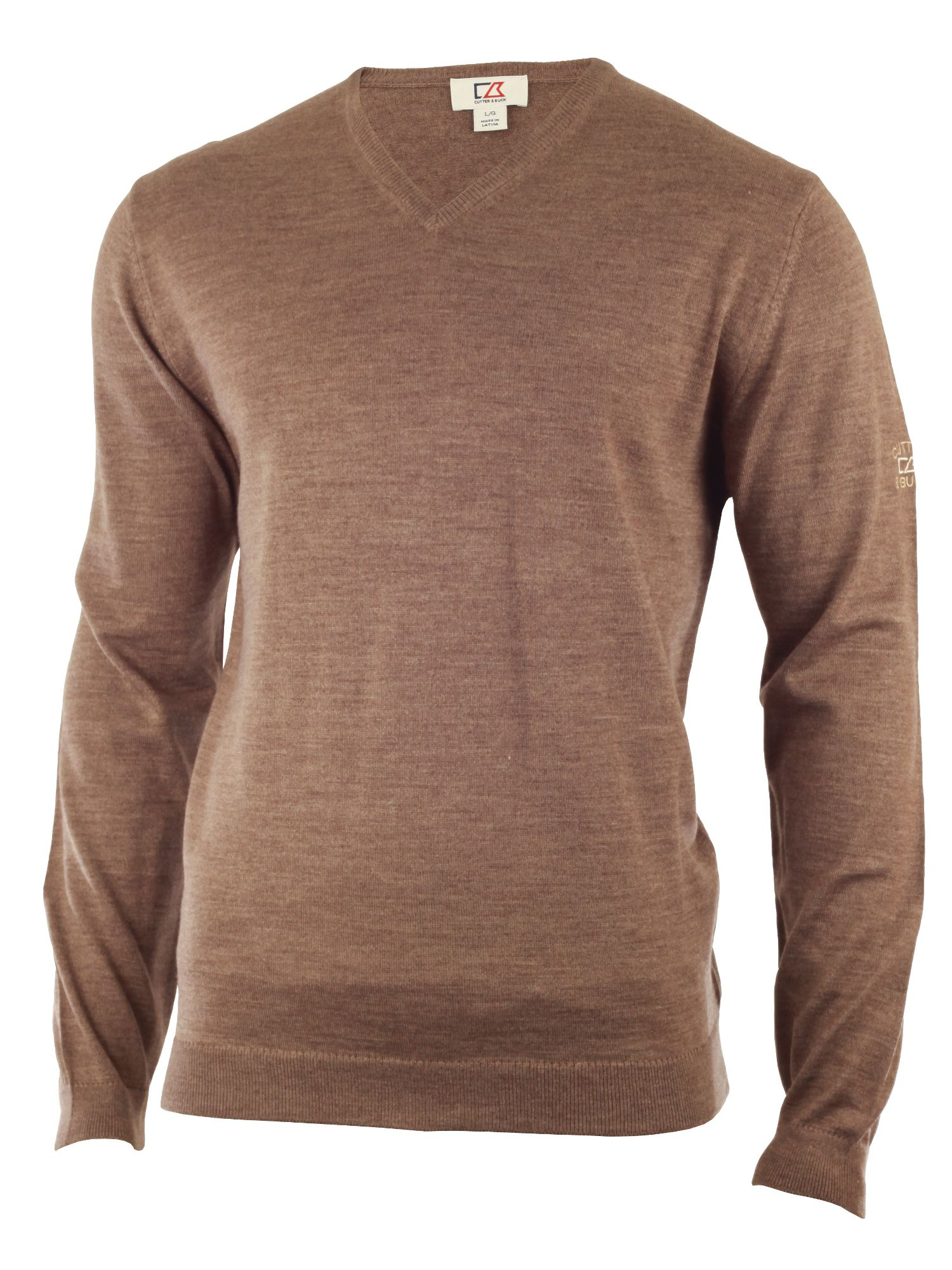 Cutter and Buck Men's Cutter and Buck Merino v neck sweater, Brown