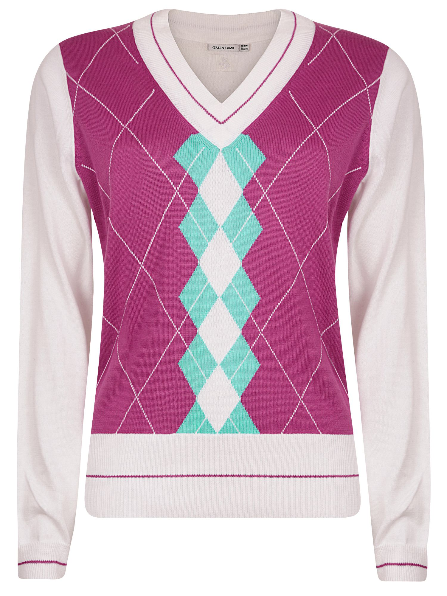 Salena colour block argyle sweater