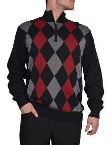 Zip neck argyle lined sweater
