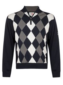 Cutter and Buck Zip neck argyle lined sweater