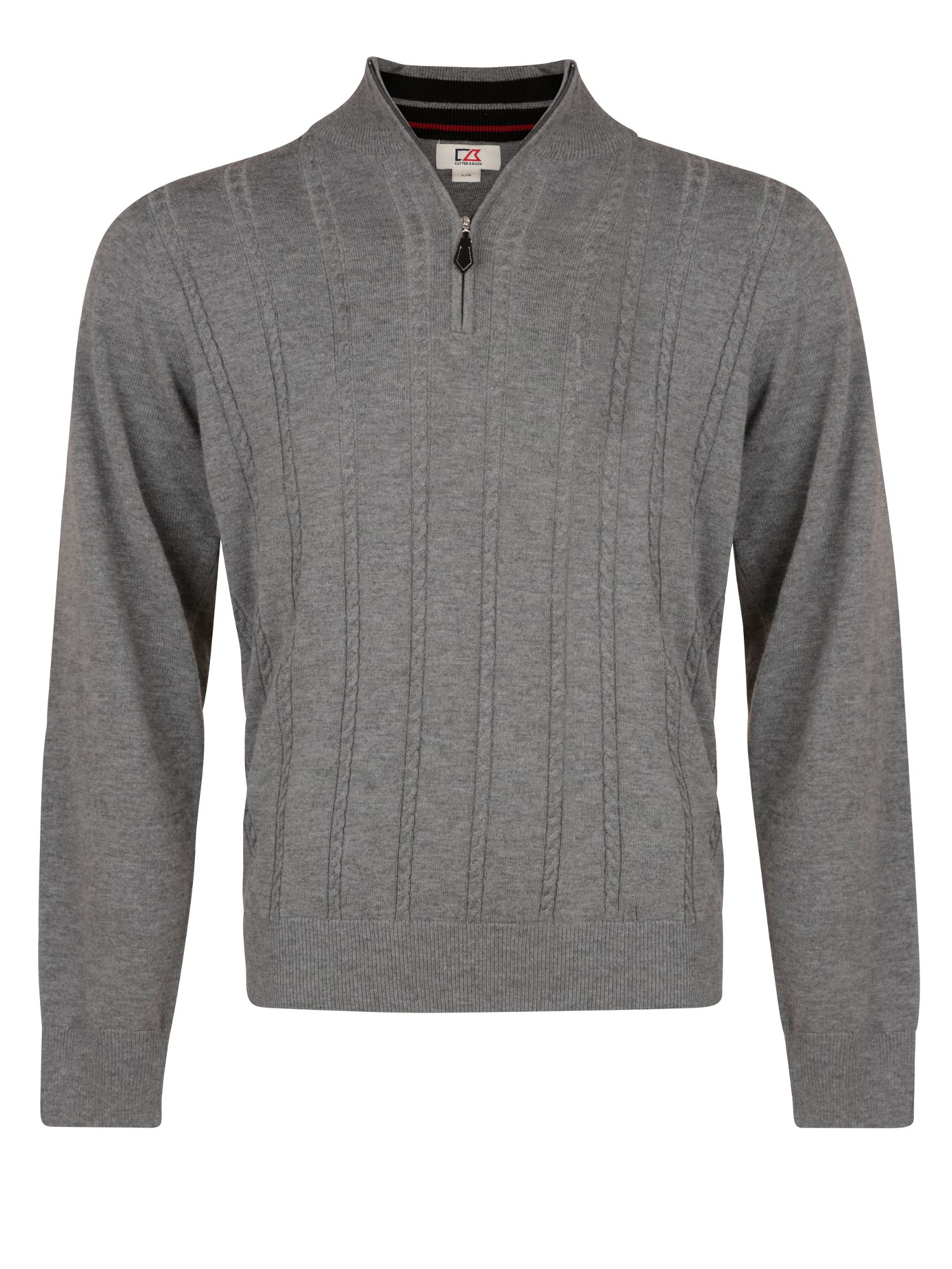 Cutter and Buck Men's Cutter and Buck Cable zip neck sweater, Charcoal