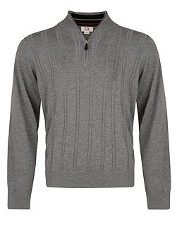 Men's Cutter and Buck Cable zip neck sweater