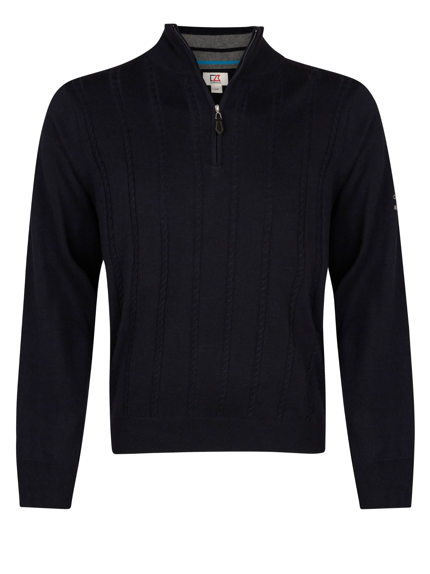 Cutter and Buck Men's Cutter and Buck Cable zip neck sweater, Navy