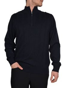 Cable zip neck sweater