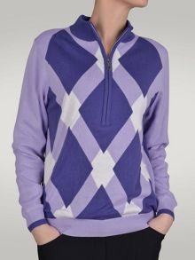 Stacey lined 1/2 zip argyle sweater