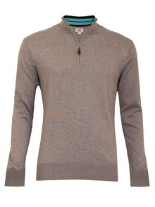 Plain Half Zip Neck Jumper