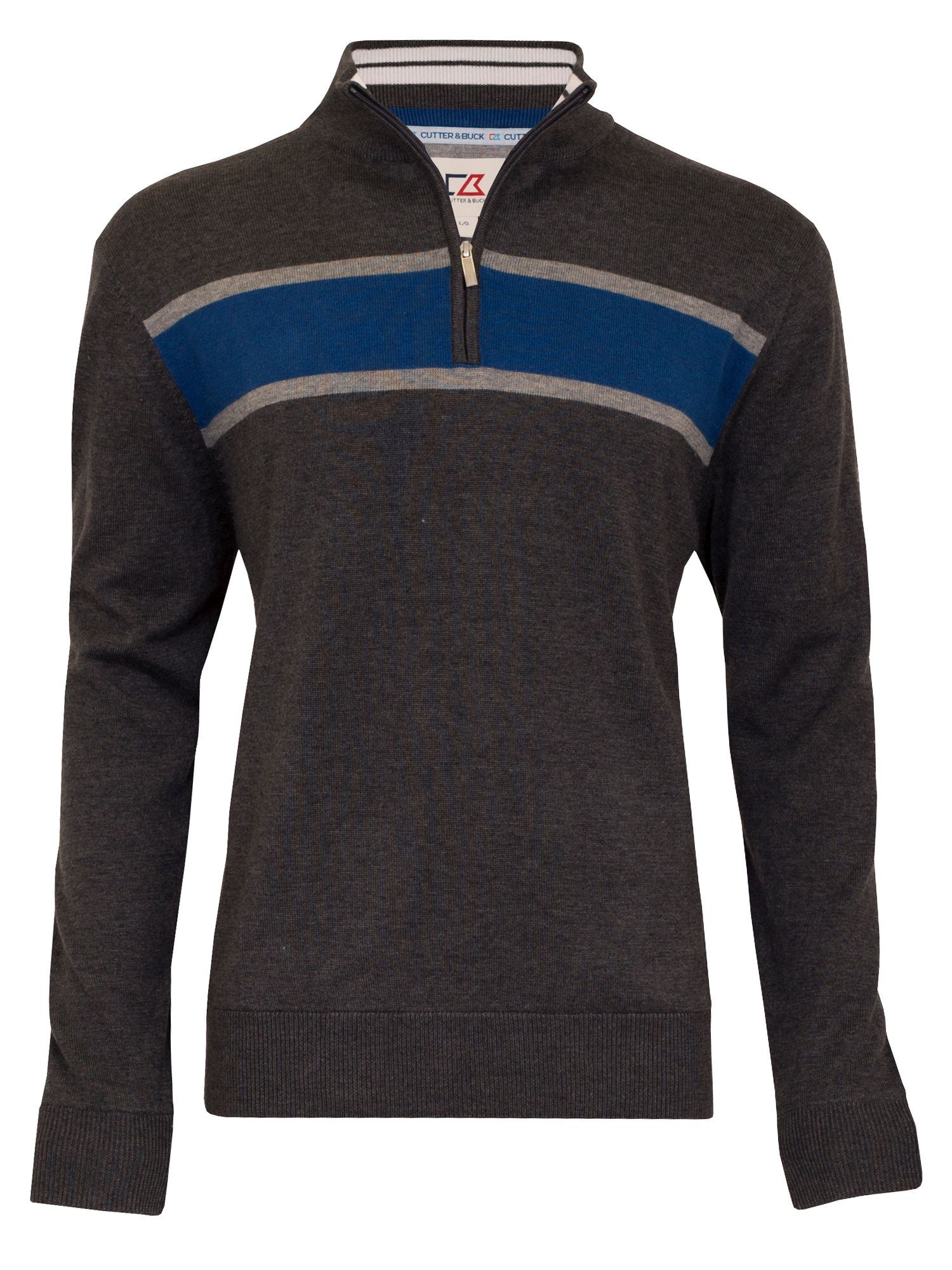 Cutter and Buck Men's Cutter and Buck Chest Stripe Windblock Sweater, Charcoal