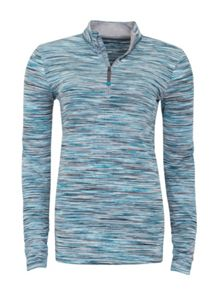 Green Lamb Feather Tech Space Dye 1/2 Zip Top