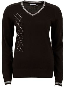 Green Lamb Beryl Diamante Trim Sweater