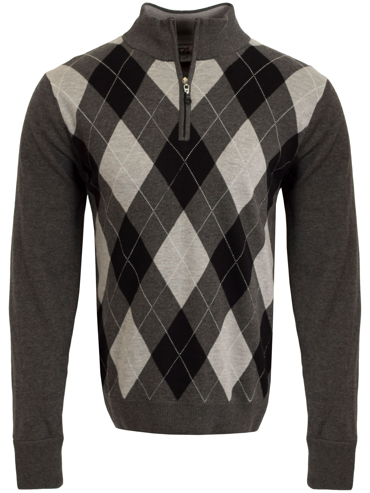 Cutter and Buck Men's Cutter and Buck Argyle WindBlock Sweater, Charcoal