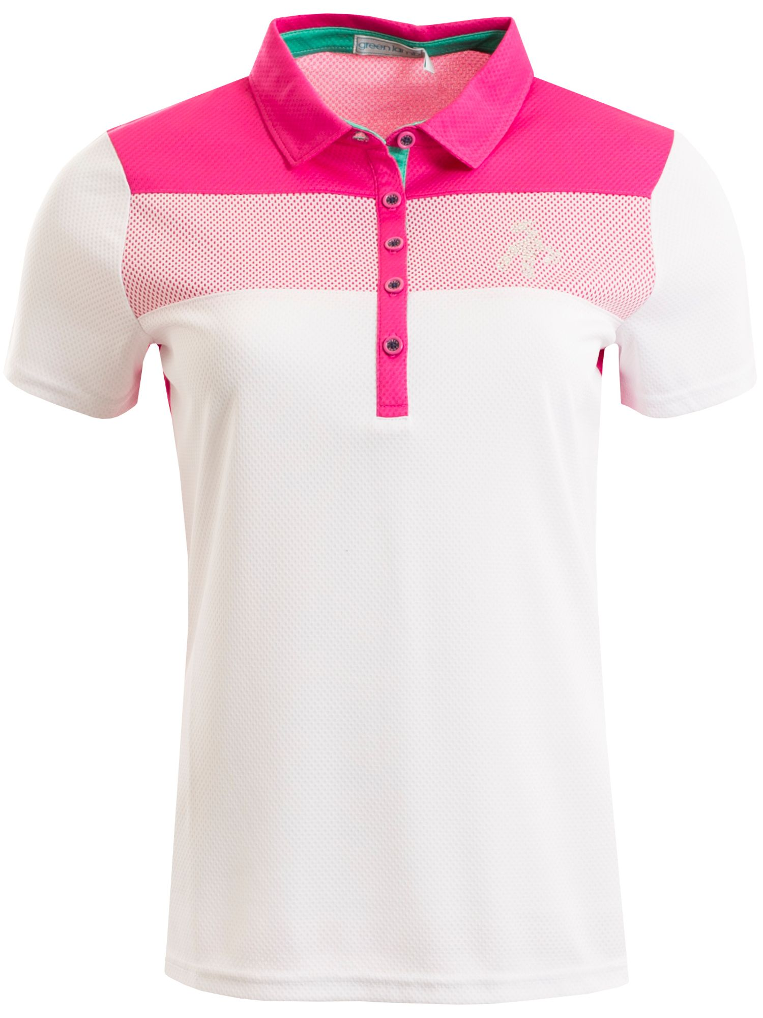 Green Lamb Fifi Chest Panel Mesh Dot Polo, Pink