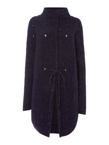 Sarah Pacini Funnel Neck Long Cardigan