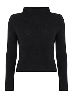 Fitted Sweater With Mock Neck