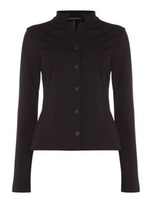 Sarah Pacini Mao Collar Cropped Jacket