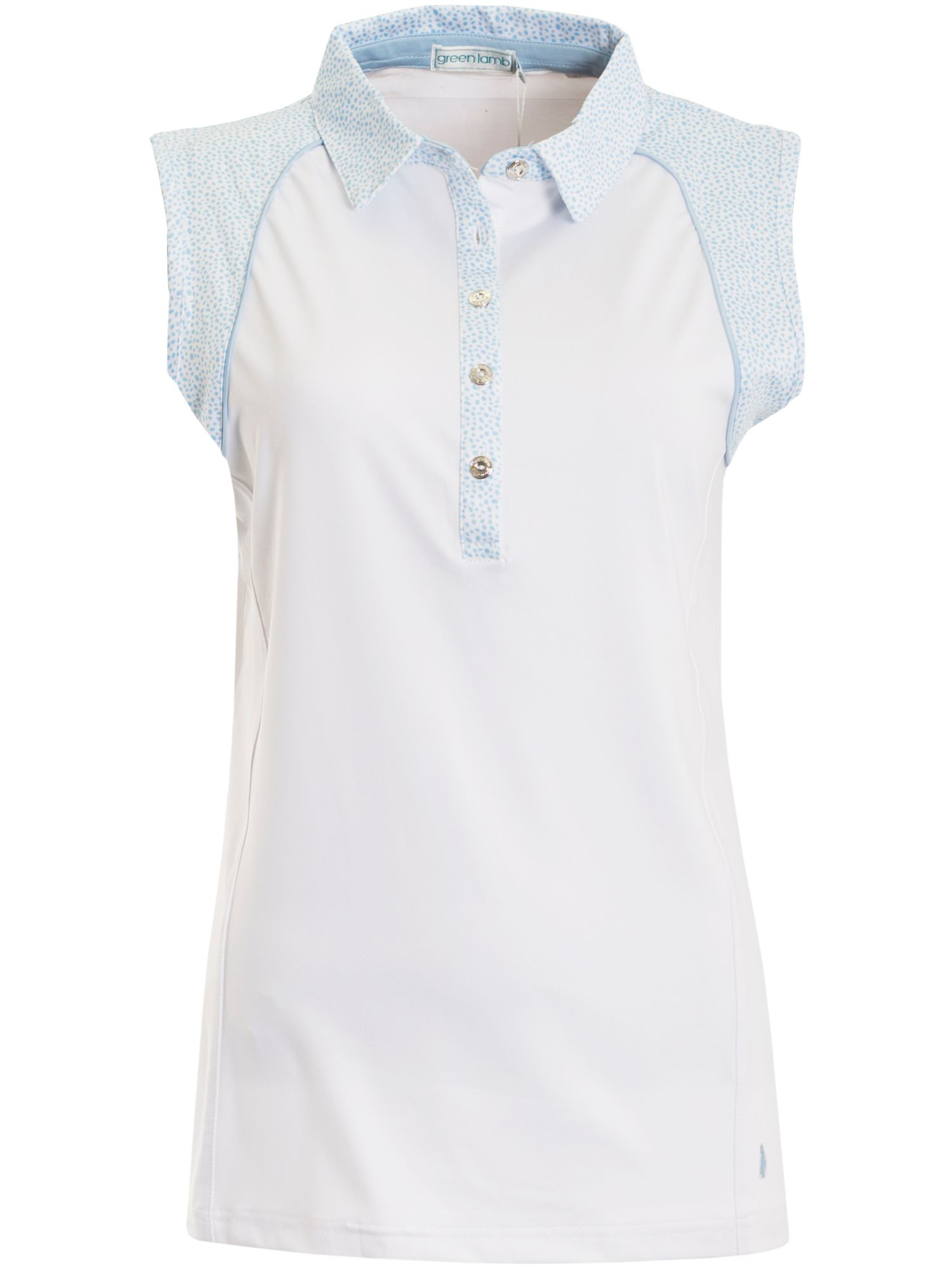 Green Lamb Piper Sleeve Less Print Trim Polo, Winter White