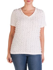 Plus size 3D light crepe top with jersey back
