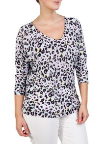 Plus size leopard patterned cotton sweater