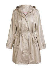 Plus size unlined oversized gold parka-style coat