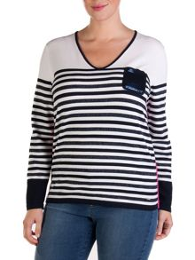 Plus size striped sweater with sequined pocket