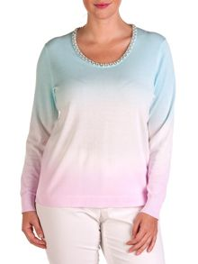 Plus size tye dye cotton sweater with rhinestones