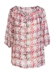 Printed silk tunique blouse
