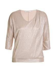 Plus size liquid gold top with a jersey back