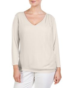 Plus size drapy top with jersey sleeves and back