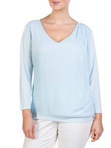 Drapy top with jersey sleeves and back