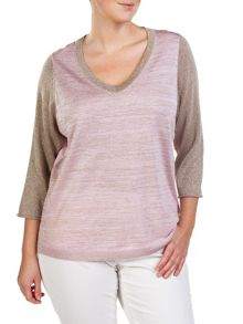 Plus size sporty sparkle V-neck sweater