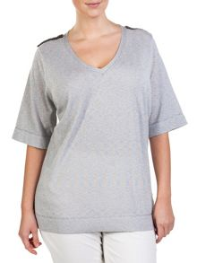 Plus size mix cotton V-neck sweater