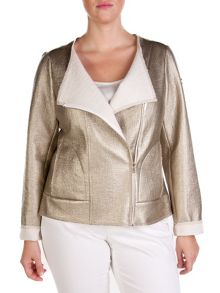 Plus size golden coated `perfecto` jacket