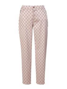 Plus size slim fit jacquard patterned trousers