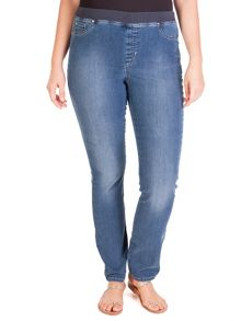 Plus size pull-on stretch jeans