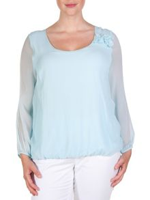 Plus size pure silk cropped blouse