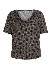 Patterned top with cowl neckline