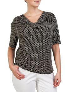 Plus size patterned top with cowl neckline