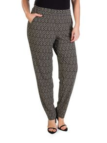 Plus size patterned pull-on trousers