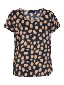 Plus size blouse short sleeve with dots