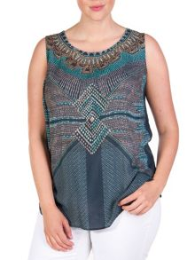Plus size sleeveless blouse with ethnic print