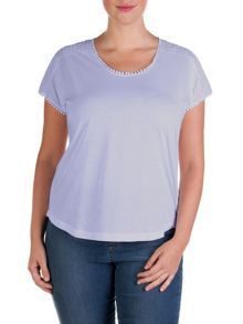 Plus size top with lace and dropped shoulders